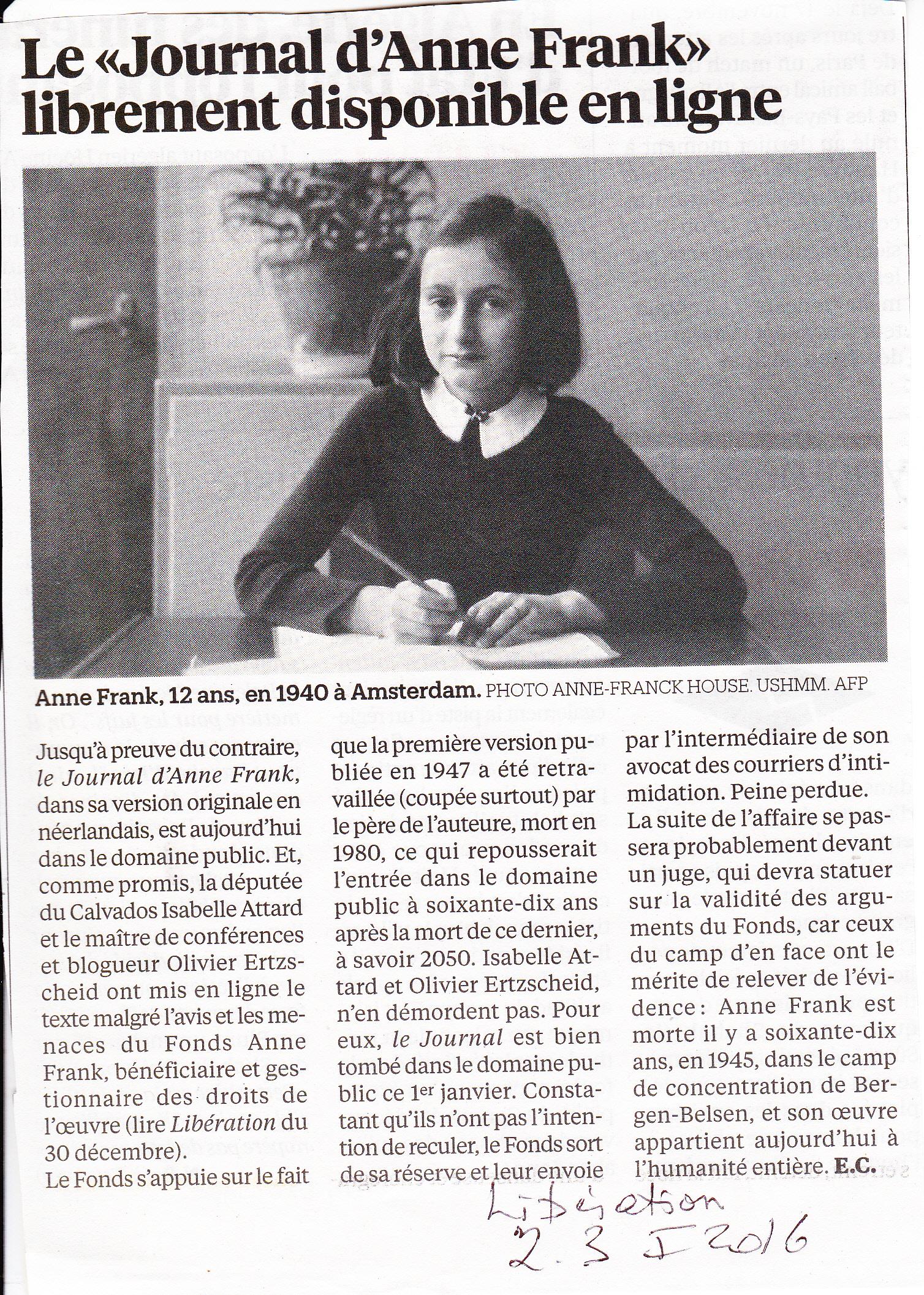 anne frank journal Le journal d'anne frank est un célèbre livre constitué du journal intime tenu par anne frank, elle-même, qui est une jeune fille juive allemande exilée aux pays-bas.