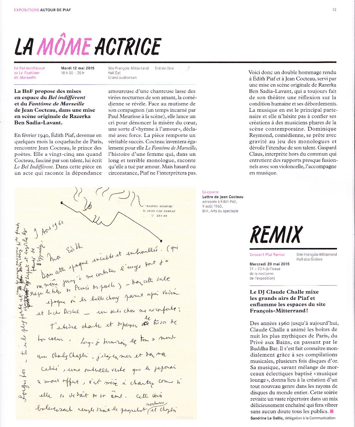 Musiques ! Edith Piaf Et Jean Cocteau